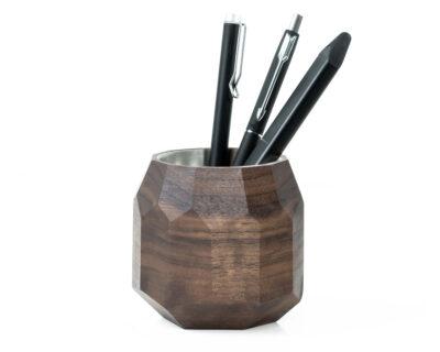 geometric pen pot walnut oakywood 1