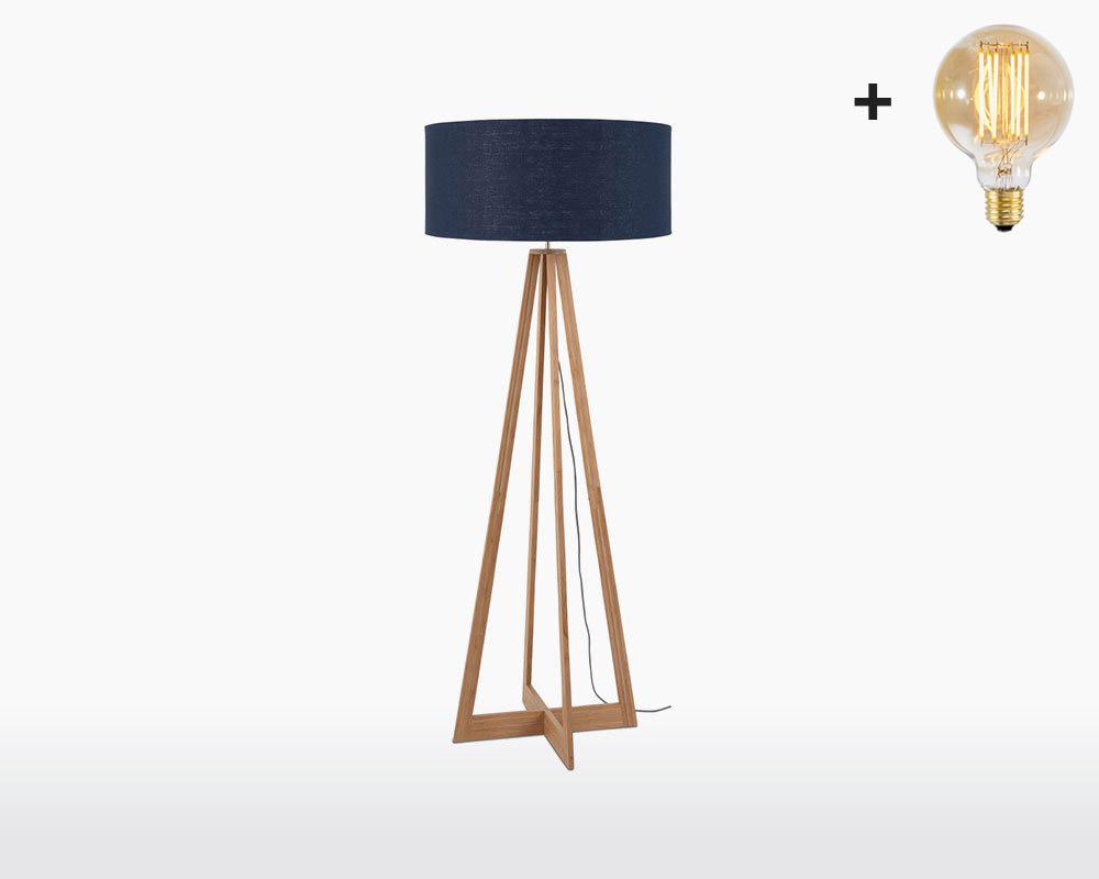 floor lamp bamboo linen everest good mojo h60 w30 blue denim light bulb on webshop wooden amsterdam.jpg