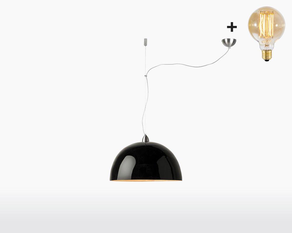 hanging lamp bamboo halong 1 shade good mojo black with light bulb on webshop wooden amsterdam.jpg