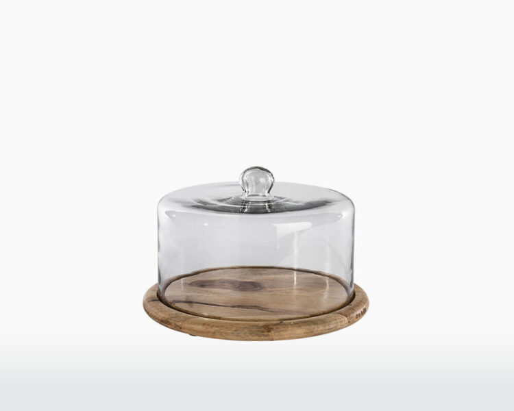 recycled glass cake dome nkuku clear glass mango wood on webshop wooden amsterdam.jpg