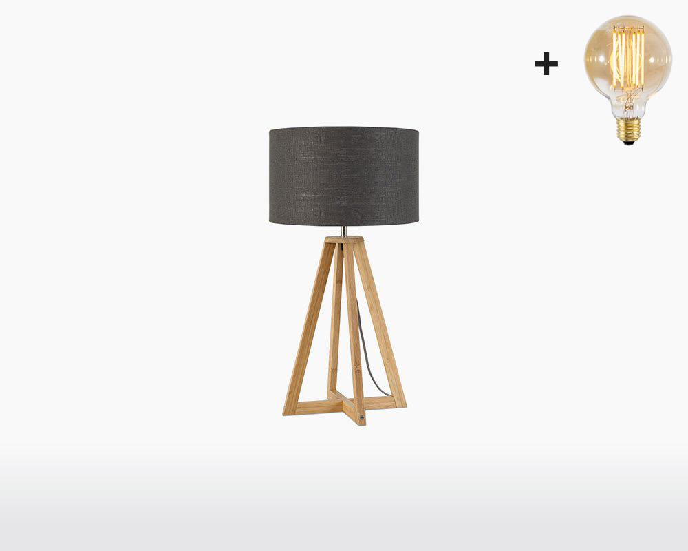 table lamp bamboo linen everest good mojo h32 w20 cm dark grey light bulb on webshop wooden amsterdam.jpg