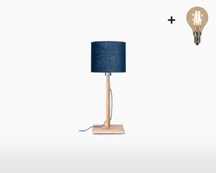 table lamp good mojo fuji with light bulb bamboo blue denim on webshop wooden amsterdam.jpg