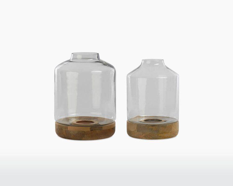 tapered hurricane lantern idha nkuku glass mango wood on webshop wooden amsterdam.jpg