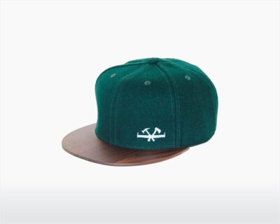 wooden cap with walnut brim and forest green wool vileman two o on wooden amsterdam.jpg
