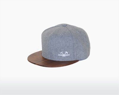 wooden cap with walnut brim and heather grey wool stanley two o on wooden amsterdam.jpg