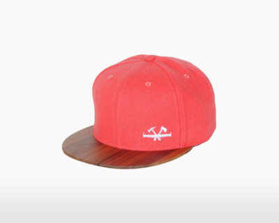 wooden cap with walnut brim and pink wool magnet two o on wooden amsterdam.jpg