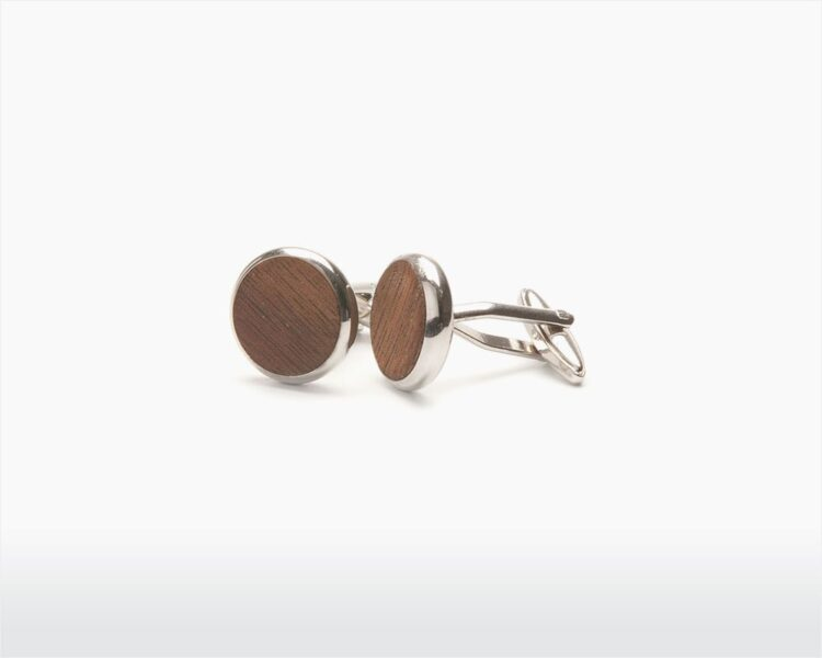 wooden cufflinks round walnut two o on wooden amsterdam webshop.jpg